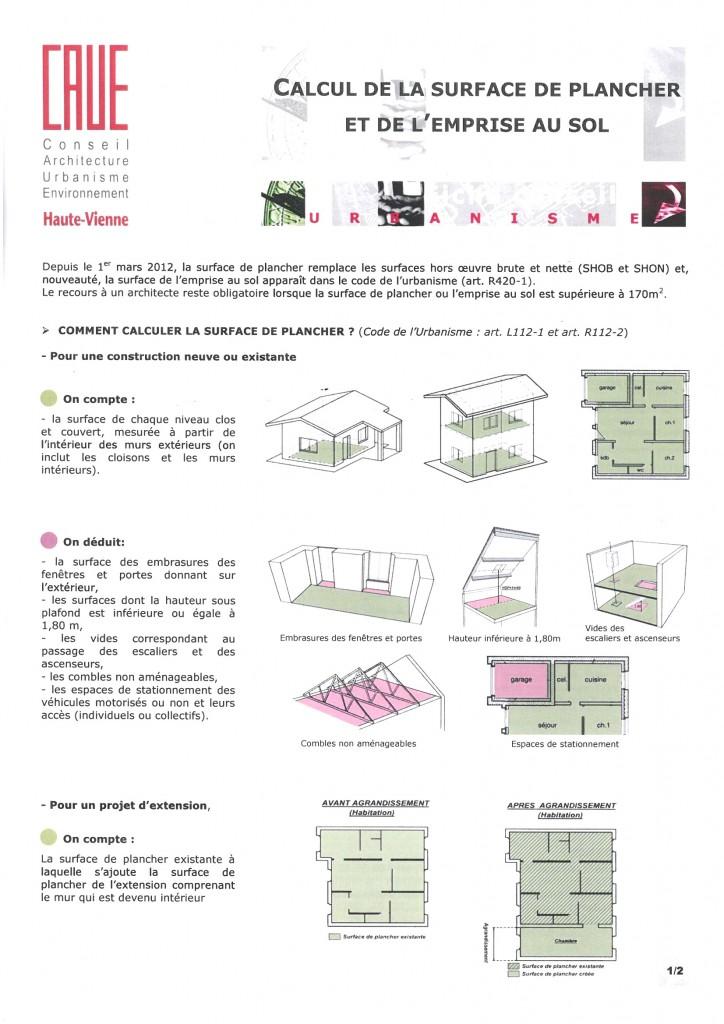 surface de plancher et emprise au sol caue 87. Black Bedroom Furniture Sets. Home Design Ideas