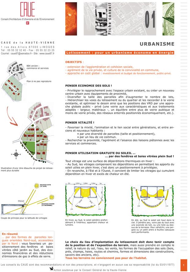 Lotissement pour un urbanisme econome en energie