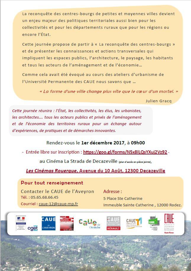 """Colloque """"La reconquête des Centres-Bourgs"""" le 1 décembre à Decazeville"""