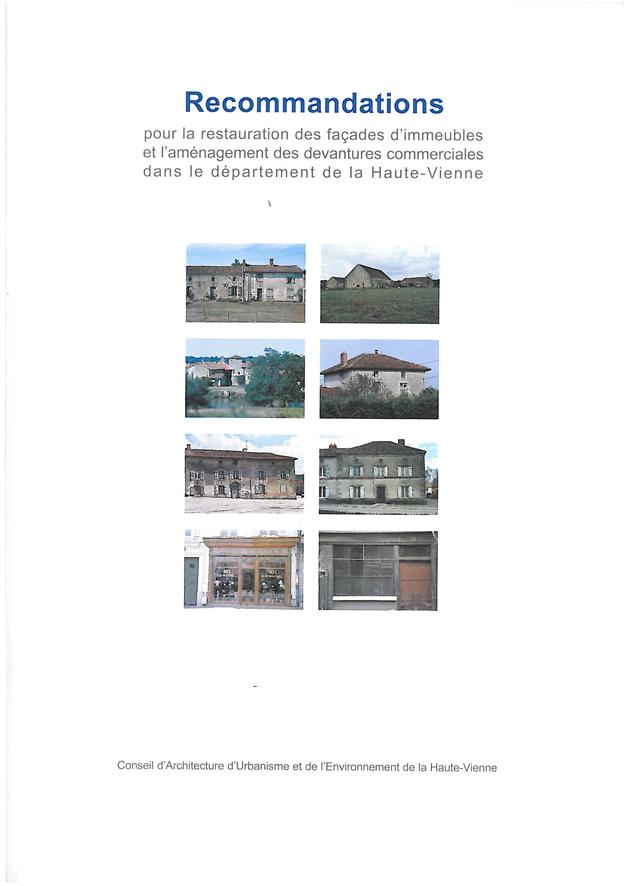 Recommandation pour les restaurations de façades